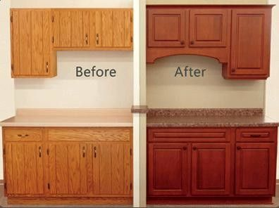 Reface kitchen cabinets before after e1367942027702 reface for Refinishing kitchen cabinets before and after