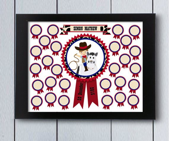 Cowboy themed sign in guest book will keep the signatures or fingerprints from family and friends as souvenir for your baby boy. Celebrate the first