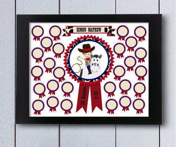 Cuadro de firmas de cowboy, ideal para nacimientos,cumpleaños infantiles, árbol de familia, decoración infantil, libro de bebé, cuadro para