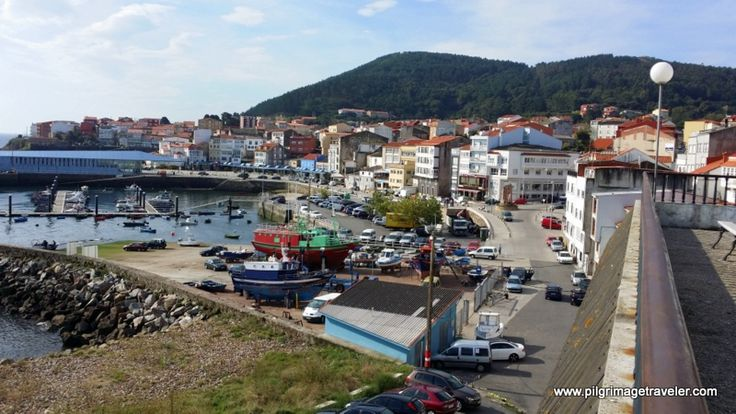 The view of the harbor from the Rúa Patres Mirador (look-out) in Finisterre, Spain.