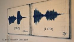 "Record when the bride & groom say their ""I do's"" (or another meaningful message) & from the soundwaves make paintings for a wall, a tattoo or why not even a thank you card to send out after the wedding."