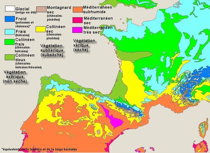 Carte des régions bioclimatiques d'Europe de l'Ouest (France, Espagne), mêlant climat et écologie.