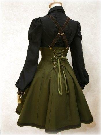 steampunk. suspenders. corset lacing. green   VIM   Scoop.it