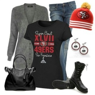 Dear stylist, I'm a niners fan! I'd love something in red, gold, white and black  to wear for game day :)