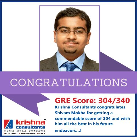 Krishna Consultants congratulates Shivam Mokha for getting a commendable score of 304 IN #GRE. #studyabroad