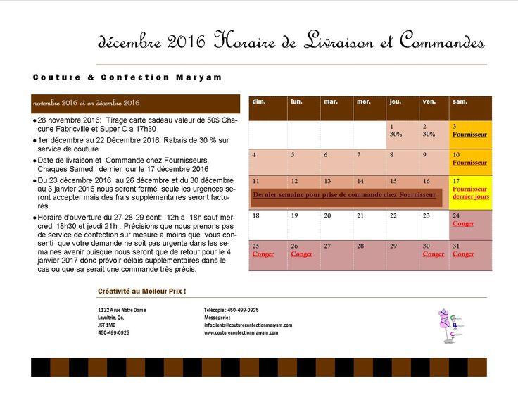 Voici notre nouvelle horaire pour décembre et Janvier Prenez Note que nous seront fermer a partir du 23 décembre au 26 décembre 2016 et que nous allons reprendre 27- 28- 29 décembre de midi a 18h sauf mercredi 18h30 et jeudi 21h. Le 30 décembre au 3 janvier 2017 nous seront également fermer la reprise des horaires réguliers se feront le 4 janvier 2017 de 10h a 18h30 Prenez notes également que nous allons seulement le samedi pour les livraisons ou les commandes des accessoires de nos clients…