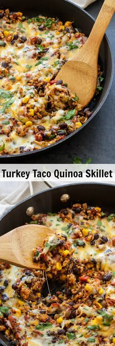Turkey Taco Quinoa Skillet | This healthy and easy to make Turkey Taco Quinoa Skillet dinner is a one pan wonder the whole family will love!