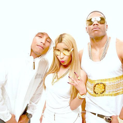 """Check out the behind the scenes video of Nelly's """"Get Like Me"""" featuring Nicki Minaj and Pharrell Williams http://idolator.com/7470587/nicki-minaj-nelly-pharrell-get-like-me-bts"""