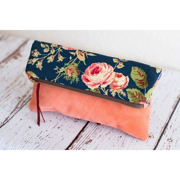 Handmade Clutch Purse beautiful soft suede and shabby chic floral... ❤ liked on Polyvore