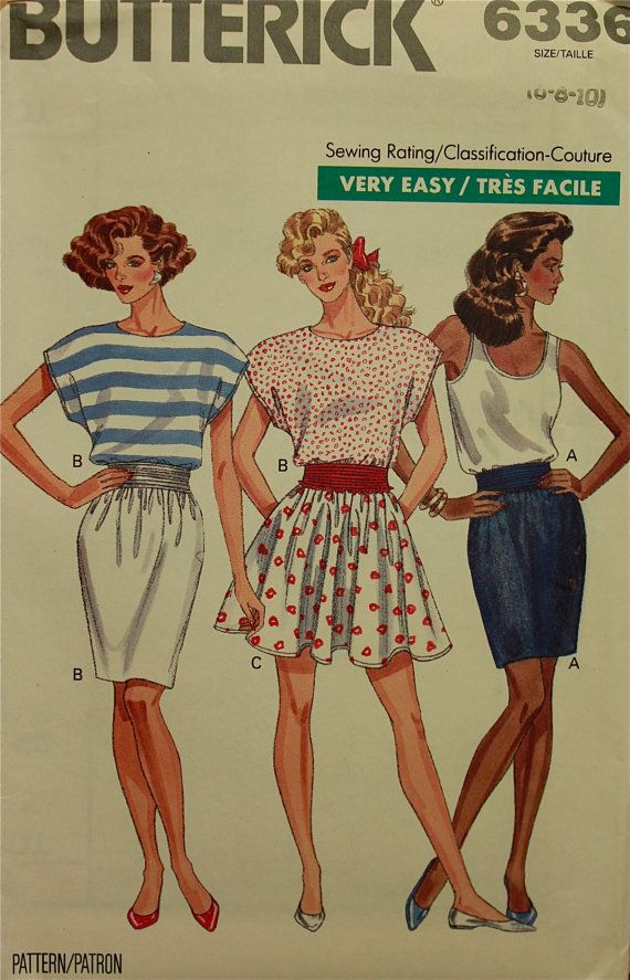 1980s Skirts and Tops Butterick Pattern 6336   by patterntreasury, $11.95