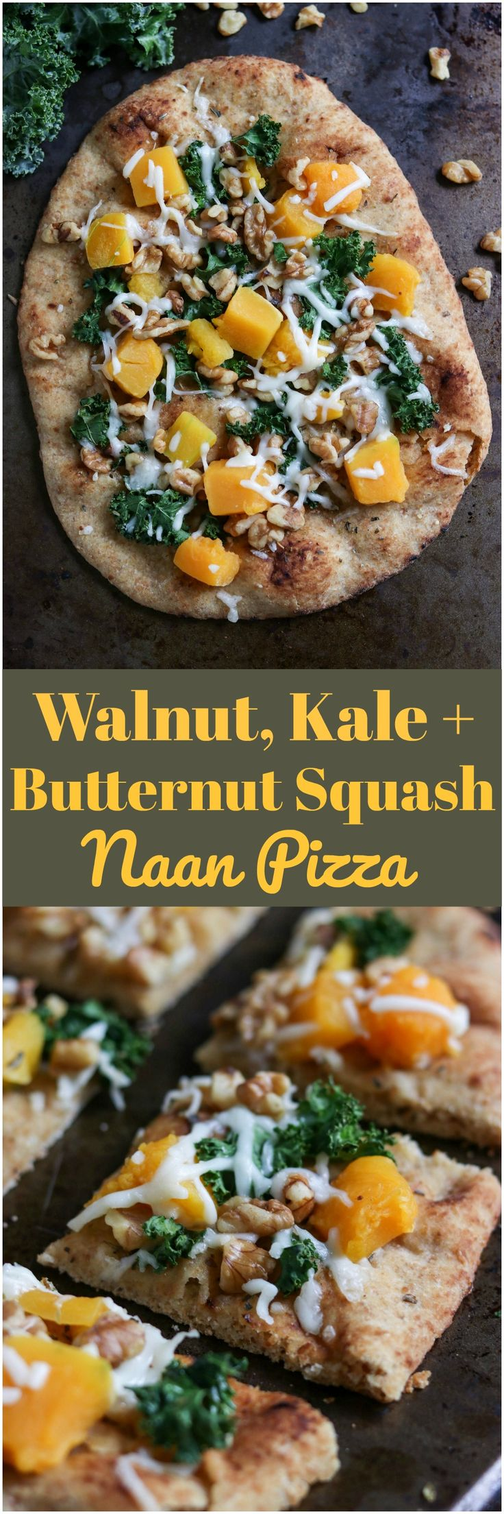 Walnut, Kale   Butternut Squash Naan Pizza. Don't settle for delivery. This simple dinner is ready in minutes and with only 5 minutes of prep. The whole family will love it! bewholebeyou.com