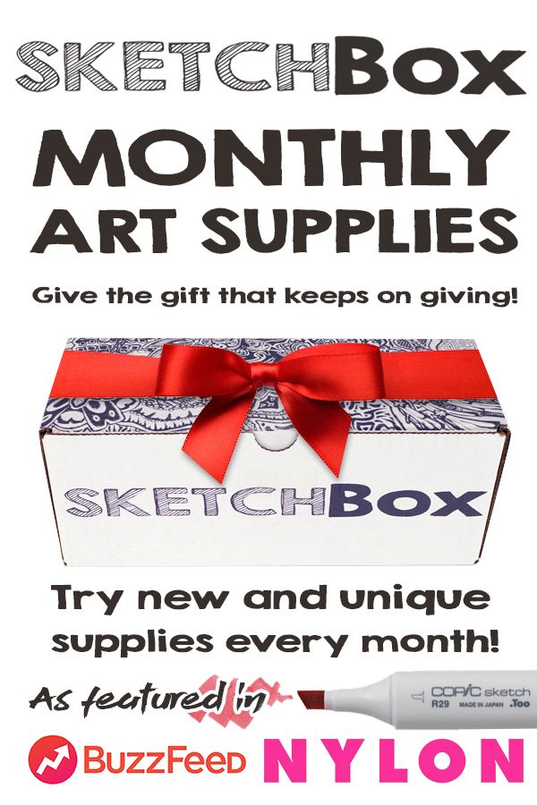 Every Month we deliver a new box of art supplies right to your door! It makes the perfect gift for that special artist in your life, or for yourself! With Basic and Premium plans we have something for every budget. Sign up at www.getSketchBox.com/subscribe