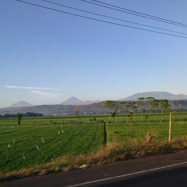 View of mt.sindoro sumbing java indonesia on way to alas roban