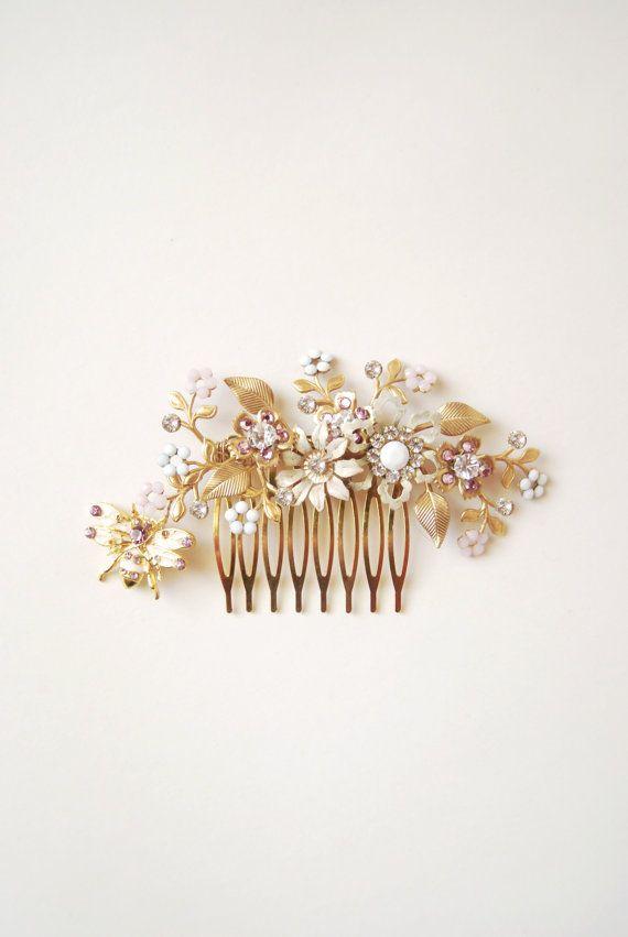 Wedding flower comb floral headpiece bride gold hair by Elibre, $110.00