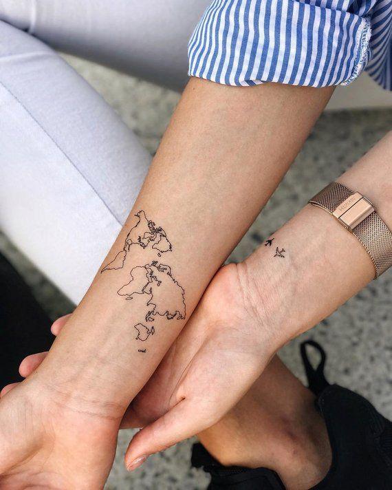 11710734395e1 World map Temporary Tattoo / Airplane flash tattoo / Wrist tattoo for  travelers / Wind rose tattoo C