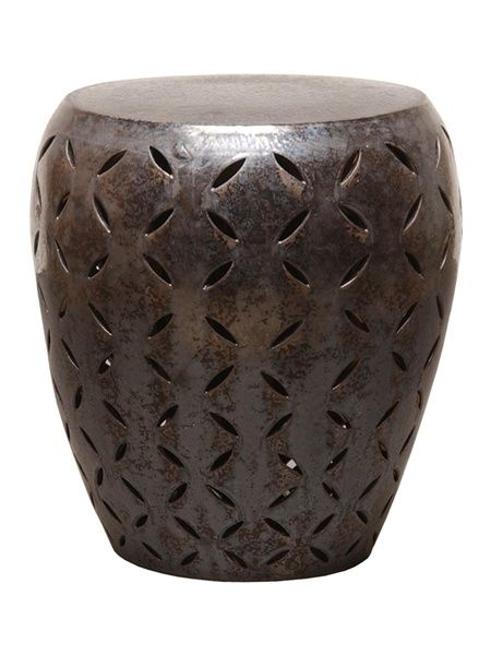 Perfect Large Lattice Garden Stool In Gunmetal. Free Shipping!