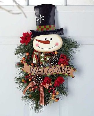 2 FT CHRISTMAS SNOWMAN DOOR HANGING WREATH SWAG WINTER HOLIDAY WINDOW DECORATION