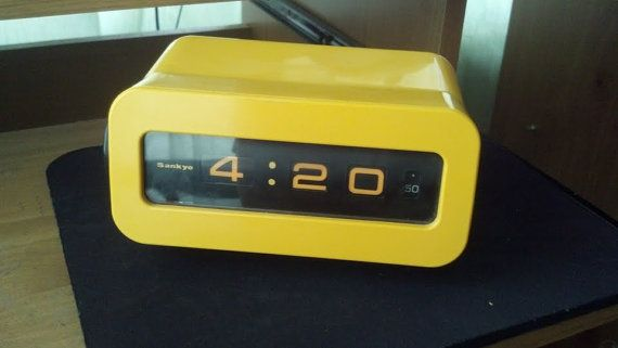 Vintage Retro Yellow Plastic Sankyo Digital Clock by Nicsknaks, $110.00  #vintage #clocks #midcentury4 20 Clocks, Vintage Clocks, Flip Clocks, Clocks Midcentury, Digital Clocks, 420 Clocks, Plastic Sankyo, Clocks Display, 110 00 Vintage