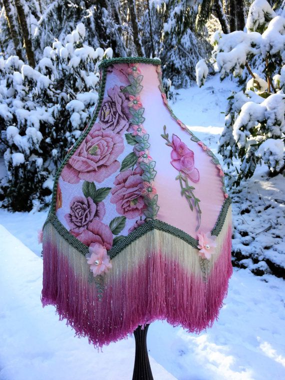 49 best all lit up images on pinterest lamp shades table lamps victorian lampshade pink sage floral cotton dyed organza appliques hand dyed fringe by ashadeabove on etsy aloadofball Choice Image