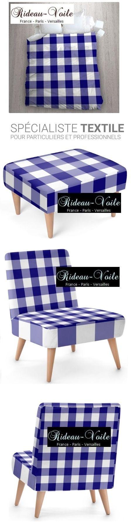 tissu fauteuil coussin housse de couette style ameublement à carreaux carré bleu blanc vichy tapisserie tapissier