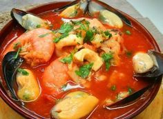 Sopa o Parihuela de Mariscos