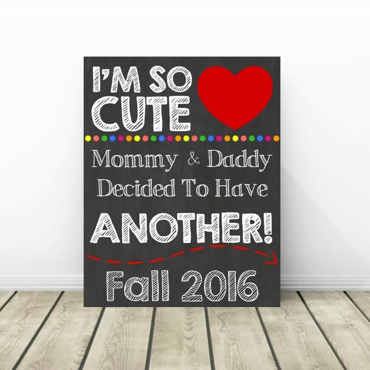 Baby Number 2 Announcement Photo Prop, 2nd Pregnancy Chalkboard Sign, Expecting Second Child, Fall 2016 Baby, New Baby Reveal, Im So Cute by PrintsInspiredByMyah on Etsy