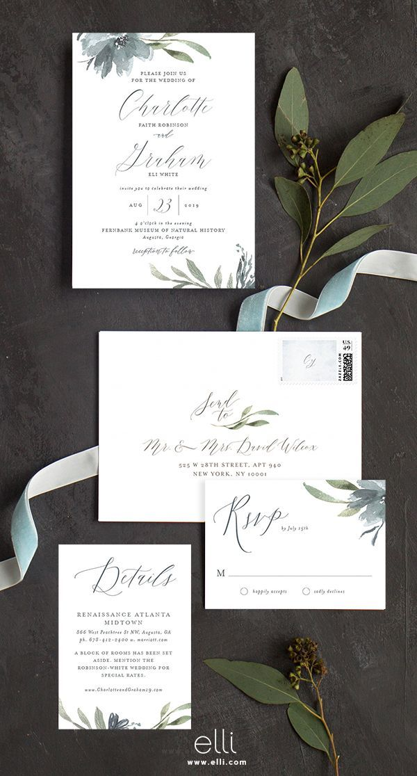 custom wedding invitations new york city%0A The perfect fall wedding invitation with dusty blue florals and greenery