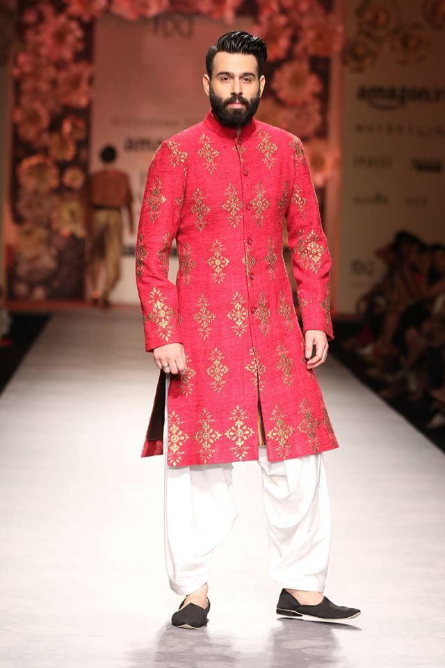 One of the few mens wear sherwanis which I felt was worth wearing for the groom on the big day. Seen at Amazon India Fashion Week #AIFWSS16 #AIFW #Frugal2Fab