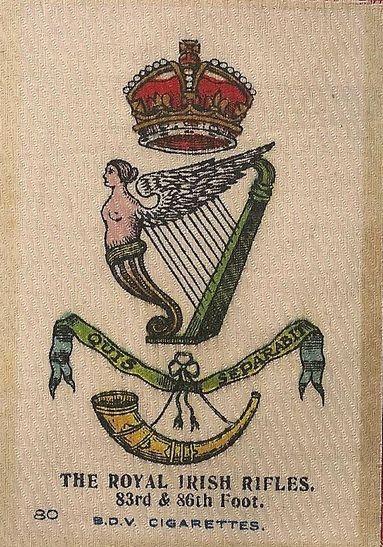 ROYAL IRISH RIFLES - Silk cigarette card, issued by Godfrey Phillips, England 1915