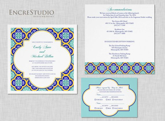 Printable Spanish Tiles Wedding Invitation