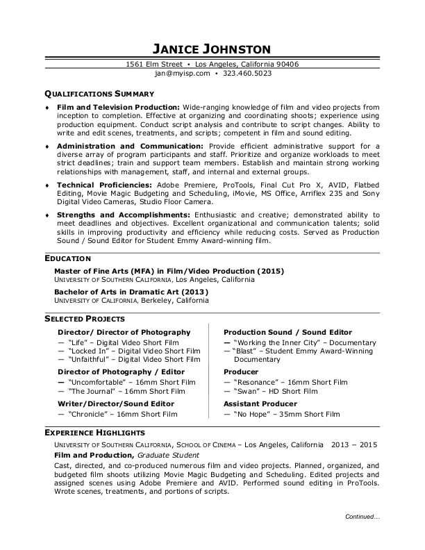 Want To Be In Pictures Use This Resume Sample To Learn How To Write A Resume For A Film Production Job Resume Examples Resume Video Resume