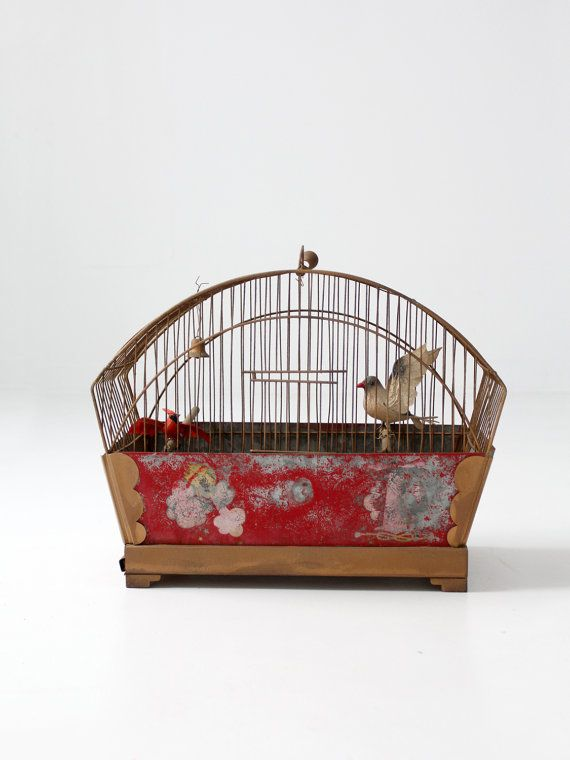 antique bird cage / hand painted birdcage by 86home on Etsy