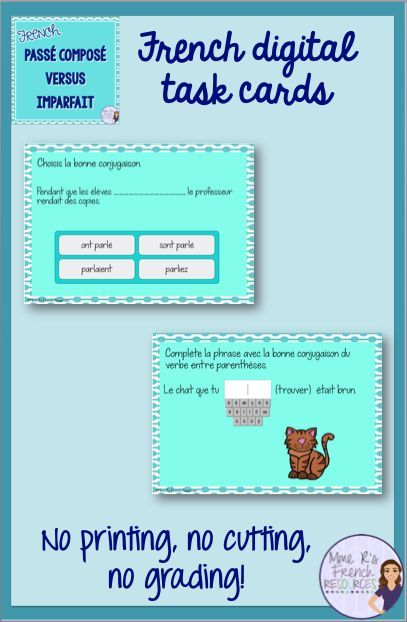 Digital task cards are the perfect way to quickly assess your students' understanding of when to use the passé composé versus the imparfait. 20 multiple choice and short answer questions. Click here to check them out!