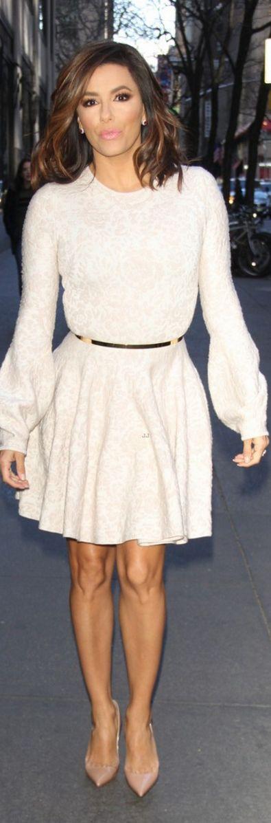 Who made  Eva Longoria's white long sleeve dress and nude pumps?