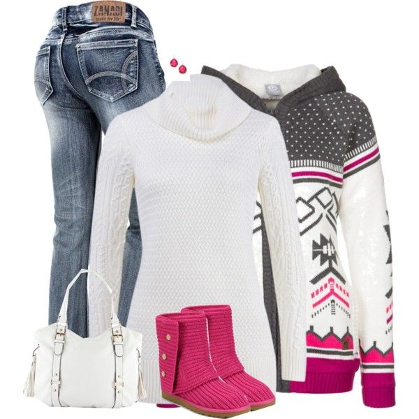 Winter outfit...pink, white and gray