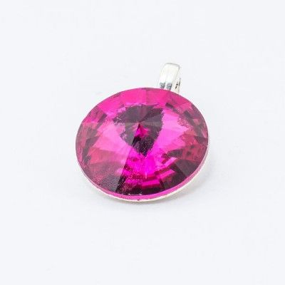 Swarovski Rivoli Pendant 12mm Fuchsia  Dimensions: length: 1,7cm stone size: 12mm Weight ~ 1,40g ( 1 piece ) Metal : sterling silver ( AG-925) Stones: Swarovski Elements 1122 12mm Colour: Fuchsia 1 package = 1 piece Price 12.90 PLN