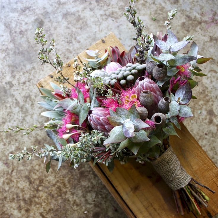 native summer wedding bouquet with gum nuts, flowering gum, protea, brunia, eucalyptus, tea tree, by Swallows Nest Farm