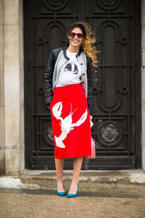 Street Style with a Punch! Francis Leon coat, Reem Alkanhal shirt, Tibi skirt & Manolo Blahnik shoes. What are you wearing today?