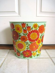 Cute Vintage Weibro METAL WASTEBASKET Trash Can Colorful Tropical ...
