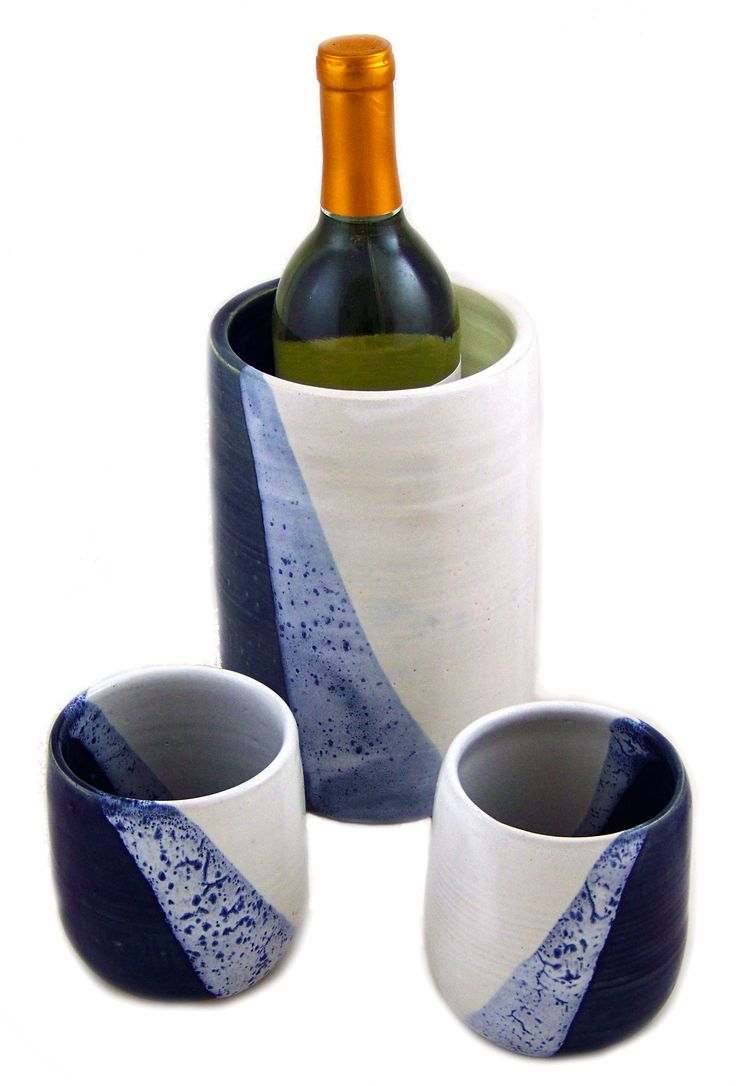 Stemless Stoneware Wine Glasses and Wine Chiller