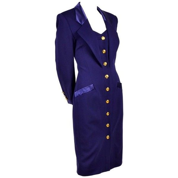 Preowned New Escada Vintage Dress In Tuxedo Style Purple Wool W/ Satin... ($895) ❤ liked on Polyvore featuring dresses, day dresses, purple, vintage day dress, vintage tuxedo, button up front dress, embellished dress and vintage 80s dress