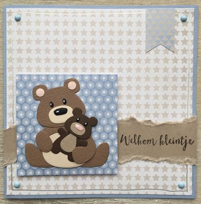 Handmade baby card by Linda with Collectables Eline's Panda & Bear (COL1409) and  Eline's Baby Animals (COL1422) from Marianne Design