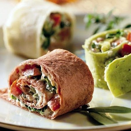 BLT Pinwheels: ½ cup mayonnaise or salad dressing,   1 package (3 oz) cream cheese, softened,   2 tablespoons Old El Paso® Thick 'n Chunky salsa,   1 teaspoon Dijon mustard,   6 slices bacon, cooked, crumbled ,  3 spinach-flavor, tomato-flavor or plain flour tortillas (8 to 10 inch) ,  3 roma (plum) tomatoes, seeded, chopped (1 cup),   1½ c ups shredded romaine lettuce