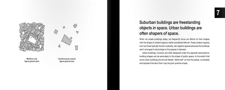 7 | Suburban buildings are freestanding objects in space. Urban buildings are often shapers of space.