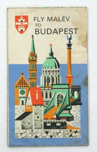 VINTAGE MAP BUDAPEST MALEV AIRLINES FLY COMPANY HUNGARY ADVERTISING SEE!! » | eBay