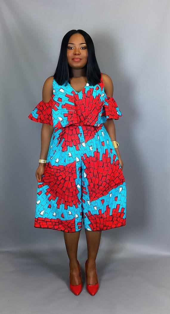 Imprimé africain hors épaule culottes vêtements africains