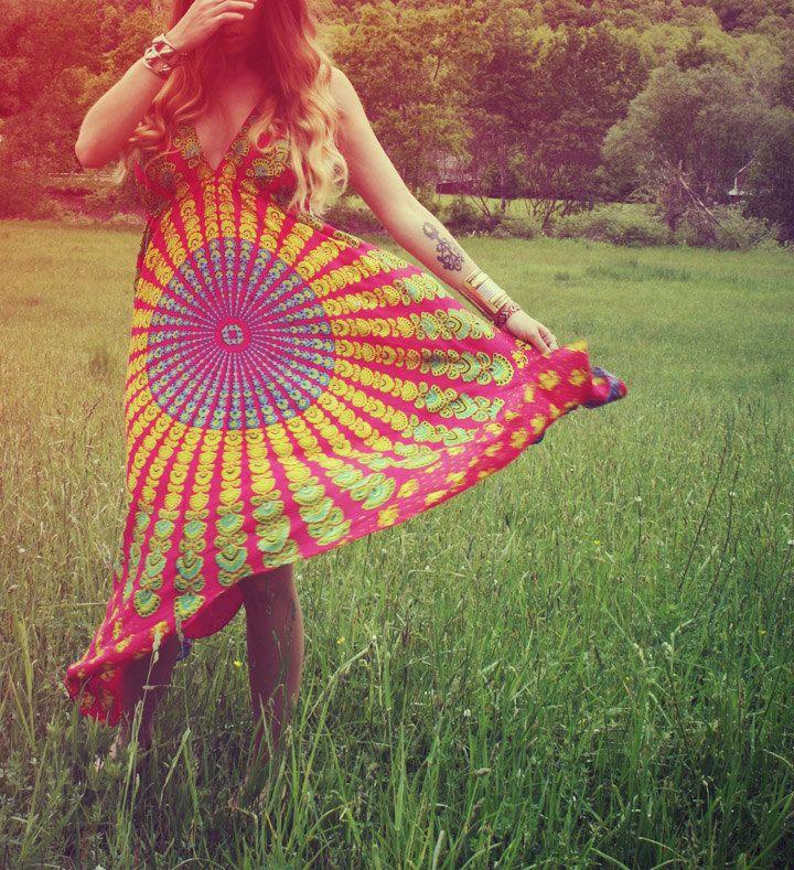 Hot Pink Hippie Dress, Red Long, Bohemian, Tapestry, Sundress, Halter Dress, Scarf Dress, Fairy Dress. $38.00, via Etsy.