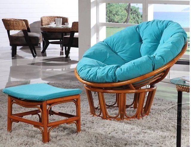 Кресло круглое из ротанга с подставкой для ног - KR01