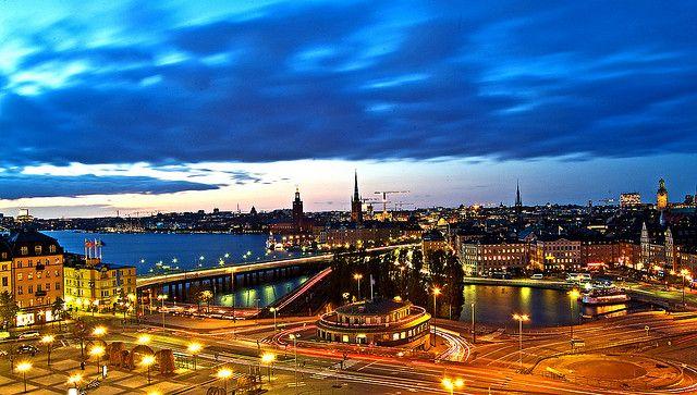 Pohled z rozhledny ve Stockholmu