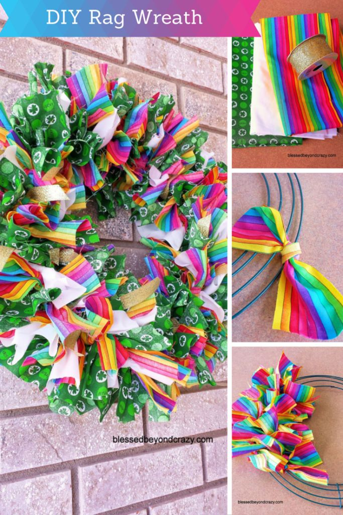 DIY St. Patrick's Day Rag Wreath. So easy to make and colorful! Perfect for St. Patrick's Day! The kids would love helping me make this!